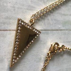 Pave Triangle Long Pendant Necklace